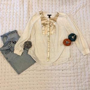 Style & Co Gold Embellished Button down